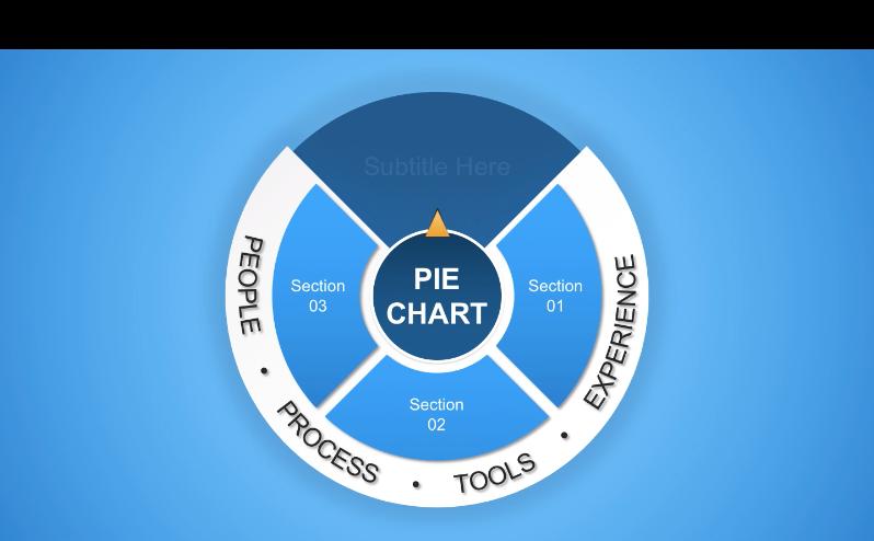 flat blue pie chart