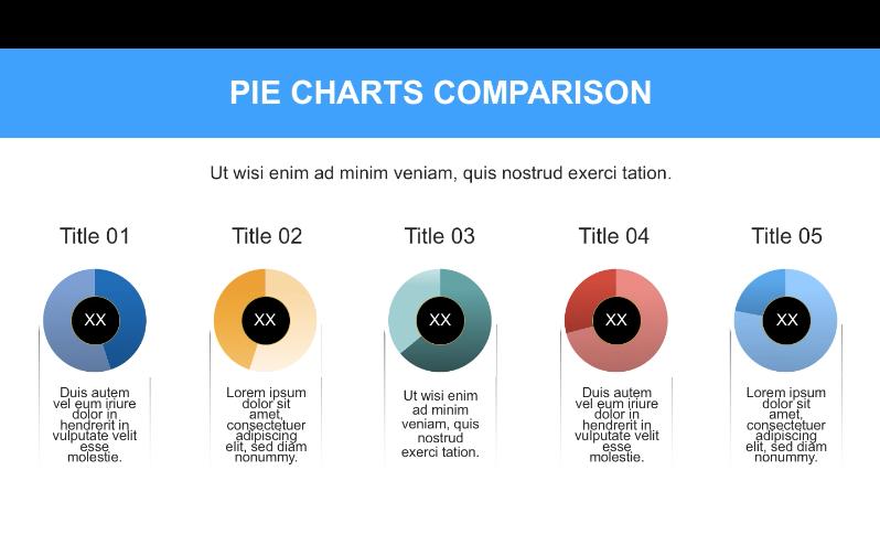 flat blue pie charts comparison